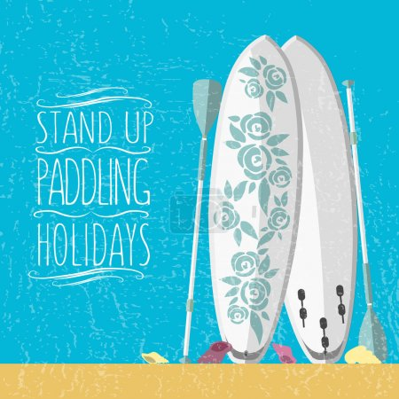 vector illustration of stand up paddle boards and paddles set in