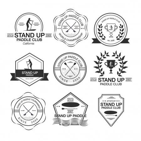 Set of different logotype templates for stand up paddling. Vecto