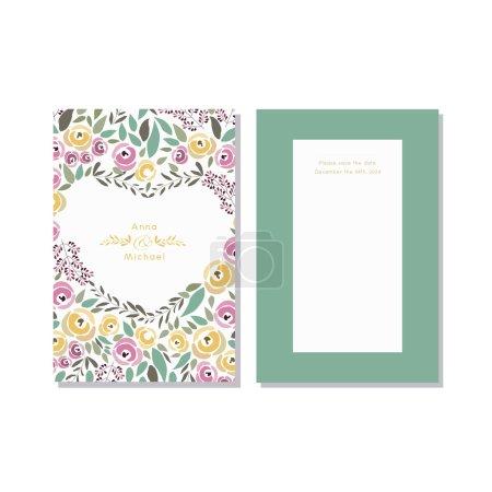 Illustration pour Illustration vectorielle du modèle d'invitation de couronne de fleurs avec signature - image libre de droit