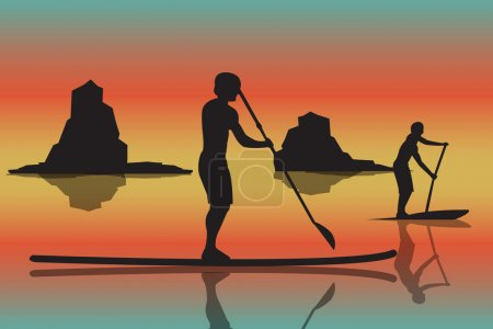 vector illustration of two men with stand up paddle boards and p