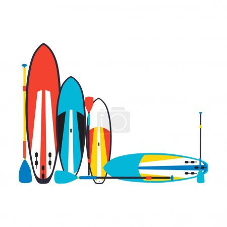 vector illustration of stand up paddle boards and paddles set  i