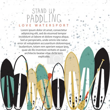 vector illustration of stand up paddle set in flat design style