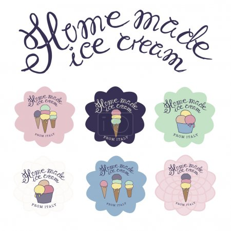 vector hand drawn sketched  illustration of six hand-made ice cr