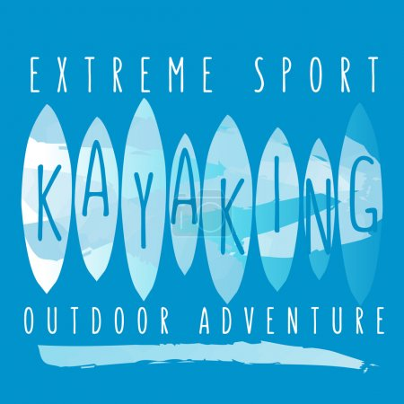 "vector illustration with signature ""extreme sport kayaking outdo"