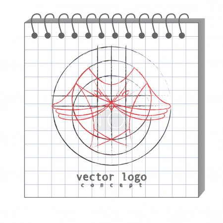 the vector illustration of logo with owl in han drawn style as d
