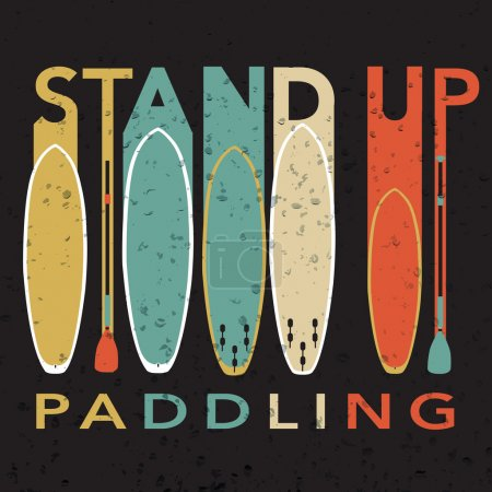 "Vector illustration with signature ""stand up paddling"" with stan"