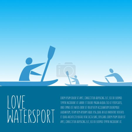 "Vector illustration with signature ""love watersport"", text and p"