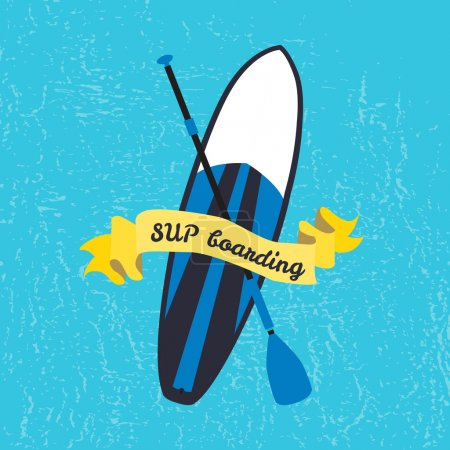 Vector illustration of stand up paddle board and paddle in flat