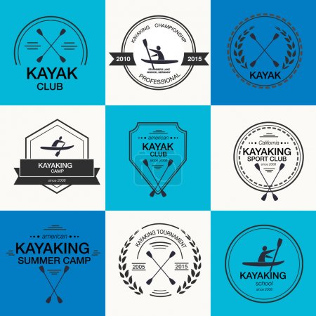 Set of different logotype templates for kayaking
