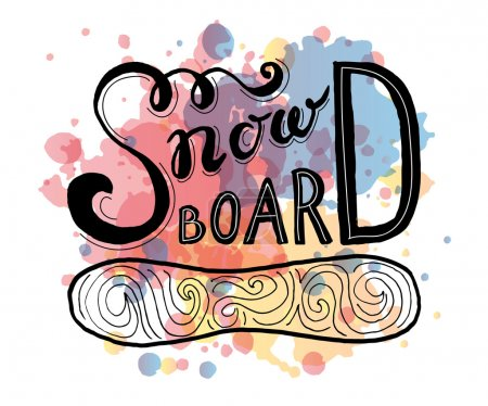 Snow board - hand drawn sport vector typography poster