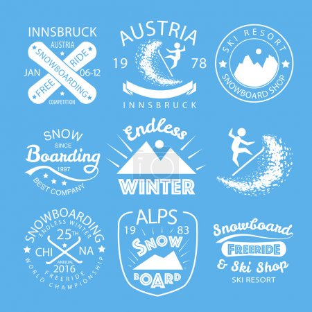 Snowboarding typography icon logotype and