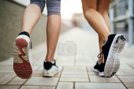 Closeup of joggers' feet