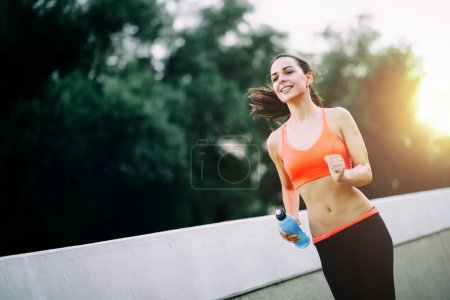 Determined woman exercising
