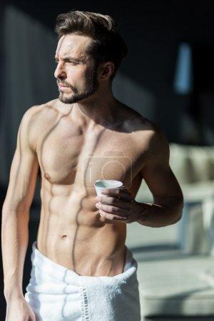 Man drinking his morning coffee