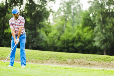 Golfer practicing before and after shot
