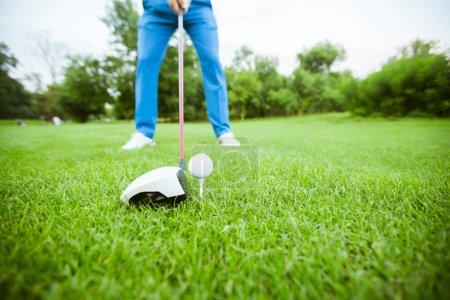 Golfer getting ready to take a shot