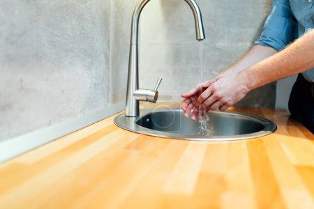 Man Keeping hands clean