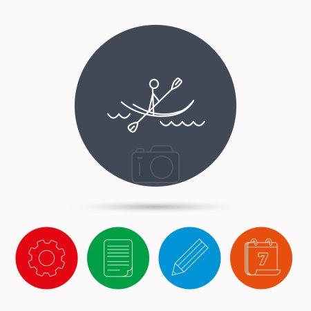 Kayaking on waves icon. Rafting or canoeing.