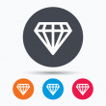 Diamond icon. Jewelry gem symbol. Brilliant jewel ...