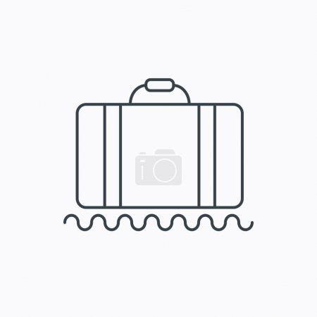 Illustration for Baggage icon. Luggage sign. Linear outline icon on white background. Vector - Royalty Free Image