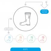 Boots icon Garden rubber shoes sign Waterproof wear symbol Line circle buttons Download arrow symbol Vector