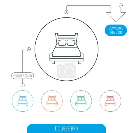 Illustration for Double bed icon. Sleep symbol. Line circle buttons. Download arrow symbol. Vector - Royalty Free Image