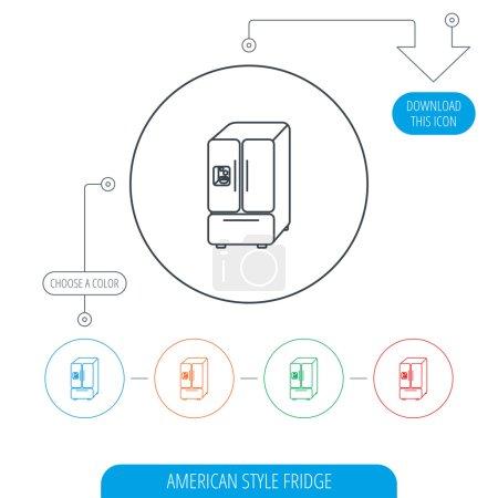 American fridge icon. Refrigerator with ice sign