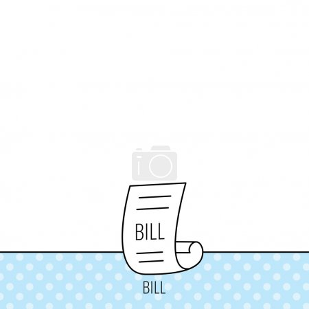 Bill icon. Pay document sign.