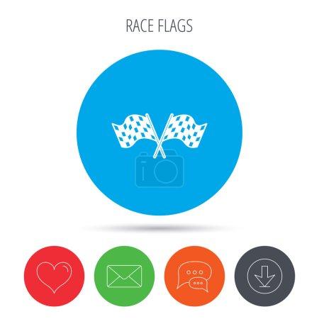 Crosswise racing flags icon. Finishing symbol.