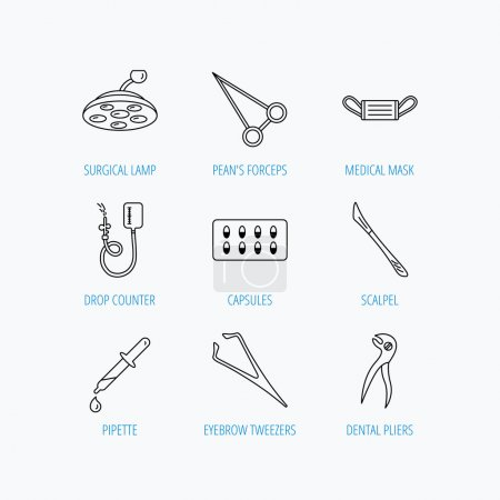 Illustration for Medical mask, capsules and dental pliers icons. Surgical lamp, scalpel and drop counter linear signs. Tweezers, pipette and forceps flat line icons. Linear set icons on white background. - Royalty Free Image