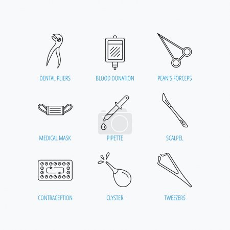Medical mask, blood and dental pliers icons.