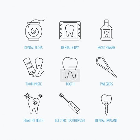 Illustration for Dental floss, tooth and implant icons. Mouthwash, x-ray and toothpaste linear signs. Electric toothbrush. Linear set icons on white background. - Royalty Free Image