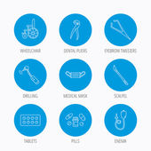 Medical mask pills and dental pliers icons