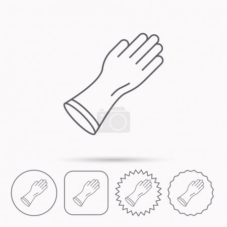 Rubber gloves icon. Latex hand protection sign. Ho...