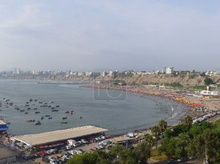 Aerial view of part of the Lima bay from Chorrillos district