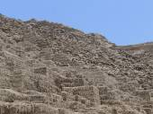 Steps of pyramid at Huaca Pucllana in Miraflores district of Lima