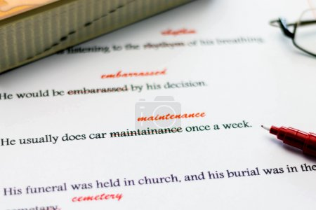 Red pen marking on misspelling english words...