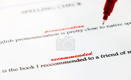 Closeup english misspelling words correction...