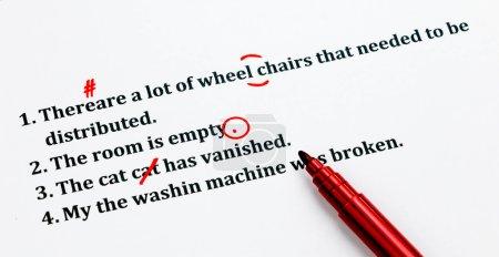 English sentences and correcting symbols represent...