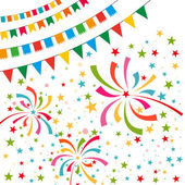 Color pennant bunting collection triangular and square red yellow blue green orange colors on white background with color firework around vector iilustration for web design greeting card party
