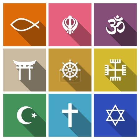 Photo pour Symboles de religion du monde ensemble plat avec chrétien, juif, islam, etc - image libre de droit