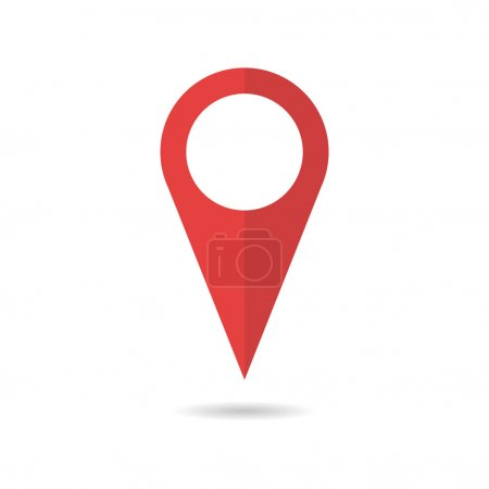 Red geo pin as logo. Geolocation and navigation