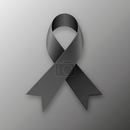 Illustration for Black awareness ribbon on dark background. Mourning and melanoma symbol. vector illustration - Royalty Free Image