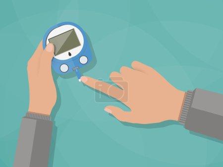 Illustration for Hand applying blood drop to test strip of Glucometer, Diabetes blood glucose test. vector illustration in flat design on green background - Royalty Free Image