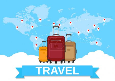 Illustration for Three travel bag on background of world map with route. travel concept. vector illustration in flat design - Royalty Free Image