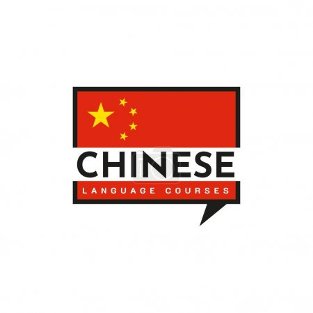 Illustration for Chinese Language Class Logo. The language exchange program, forum and international communication sign. With Chinese flag - Royalty Free Image