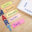 SMART Goals and My Goals in notebook on wood backg...
