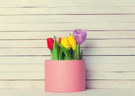 bunch of tulips in the box