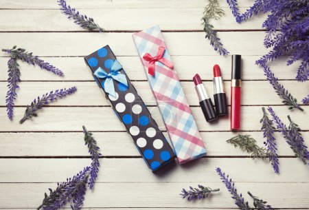 Cosmetics with lavender flowers