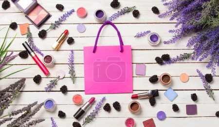 Pink bag and cosmetics